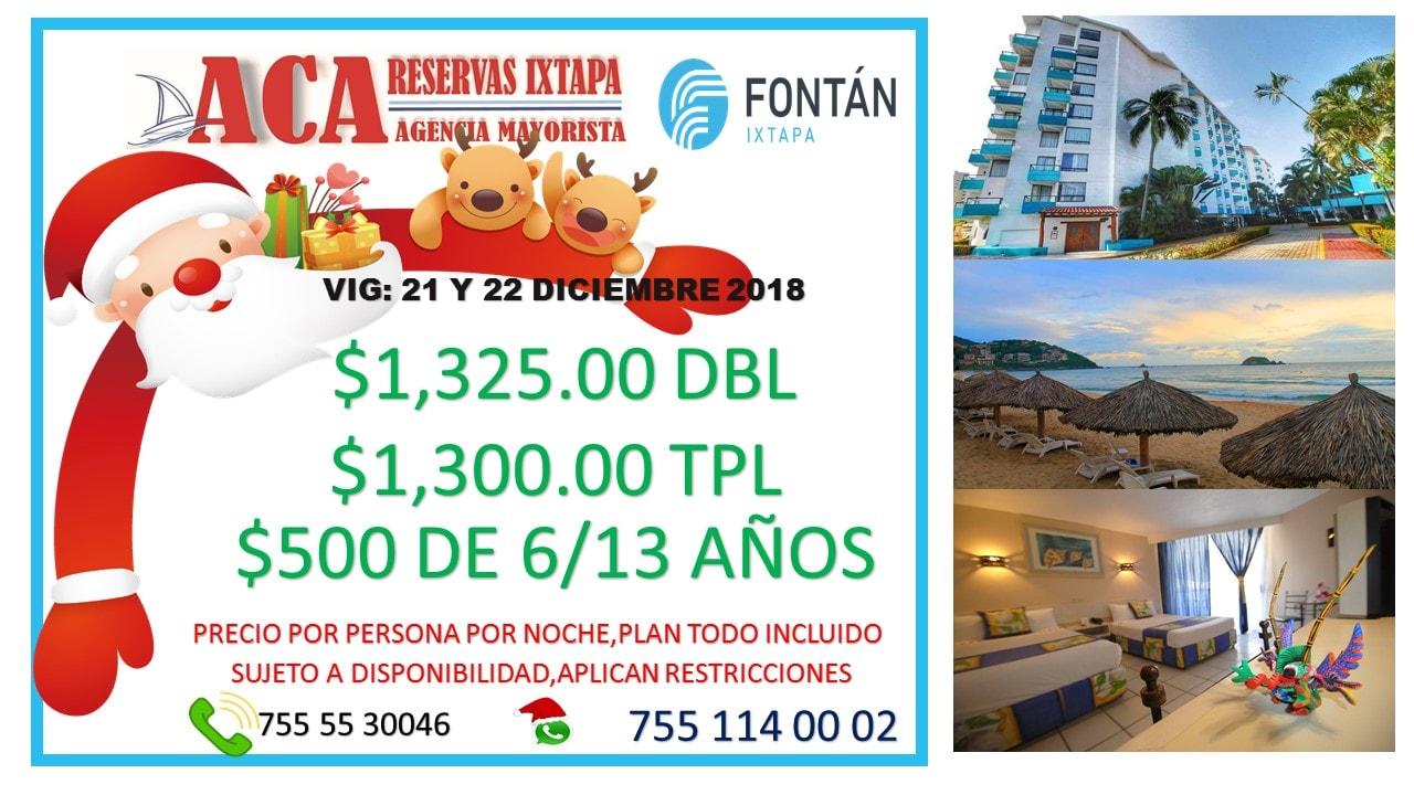 Navidad en el hotel fontan ixtapa, descuentos hoteles ixtapa zihiuatanejo en el hotel fontan ixtapa, promociones en hoteles ixtapa zihuatanejo, ofertas en hoteles todo incluido hoteles sobre playa agencia de viajes aca reservas ixtapa zihuatanejo